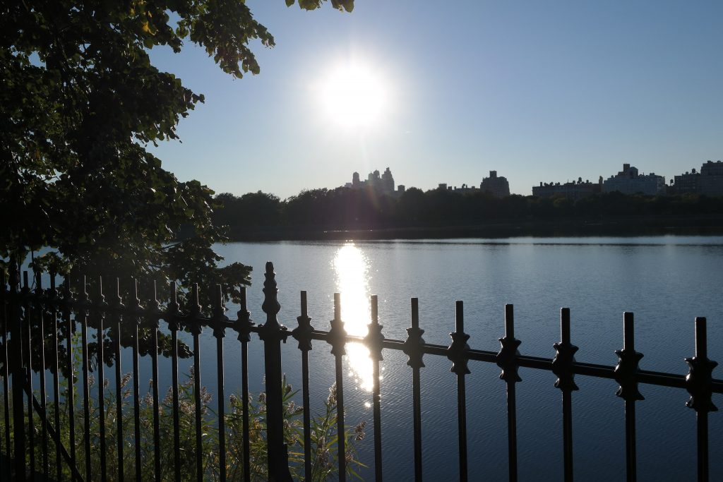 Lac de Central park au soleil couchant à New York